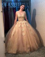 Princesa Vestido de fiesta con balón Vestidos de fiesta apliques Encaje piso longitud Vestidos de quinceañera vintage Piel transparente de tul Vestidos de noche 2015 Compromiso