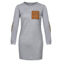 Moda Estilo Simples Mulheres Verão Casual soltas T-shirt Vestido manga comprida O pescoço Pure Ladies Color elegante retas Vestidos M-XL