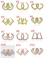 2019 مجوهرات فاخرة متعددة الأشكال العرقي كبير خمر مطلية بالذهب الخيزران هوب أقراط للنساء مجانا اختيار دي إتش إل الحرة