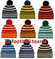 Hat Factory непосредственно Новое прибытие побочная Шапочки Шляпы Американский футбол 32 команд Спорт зимняя сторона линии вязаные шапки Beanie вязаные шапки