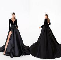 Vestidos de noche negro VELVET VELVET A LINE SWEEP TREN FALDA SATIN Faldas de manga larga Vestido de baile barato Sexy High Split Formal Formal Bats