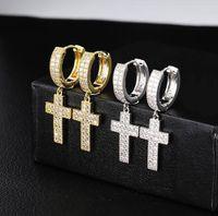 1 paire Croix Casual Forme Boucles d'oreilles Micro Pave Cubic Zircon Boucles d'oreilles Hommes Femmes Mode Bijoux pour le cadeau