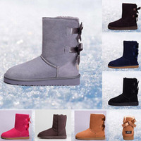 Australia women classic snow boots ankle short bow fur boot ...