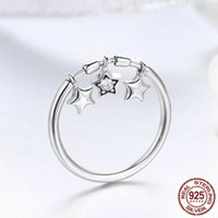 100% 925 Sterling Silver Fashion Sparkling Dangle Star Finge...