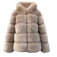 taille plus solide femmes Faux Vison d'hiver à capuchon Nouveau en fausse fourrure chaud épais vêtement Veste femme chaud manteau d'hiver
