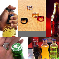 Stainless Steel Colorful Finger Ring Shape Beer Bottle Opene...