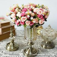 Fiesta nupcial boda de la hoja artificial Hydrangea Ramo flores de seda Decoración
