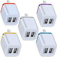 DUAL USB PUERTOS 2.1A ANILLO DE METAL EU EU EE. UU. AC Adaptador de cargador para el hogar para iPhone Samsung S9 S10 Note 8 9 10 Huawei