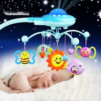 Baby-Geklapper-Spielzeug 0-12 Monate Krippe mobile Musik Bed Bell mit Sky Sterne Rattles Projection Cartoon Early Learning Kinder ToysMX190917