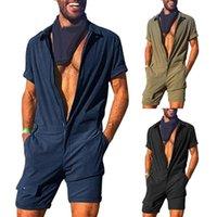 Erkek Kot Erkekler Romper Jumpsui Kısa Kollu Kargo Tulum Tulum Takım Moda Tek parça Fermuar Katı Renk Rahat Joggers Streetwear