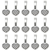 500Pcs Antique Silver Glue on Heart Bails Jewelry Scrabble Glue On Earring Bails Glass Tiles Pendants for Jewelry Making 19*9MM