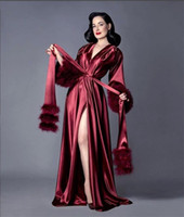 Burgundy Robe Women Feather Full Length Lingerie Nightgown S...
