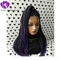 New Ombre purple color synthetic braids Lace wigs High Tempe...