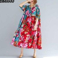 Günlük Elbiseler Dimanaf Kadınlar Yaz Elbise Artı Boyutu Büyük Giyim Femme Zarif Bayan Vestidos Baskı Çiçek Boy Pileli Gevşek Kırmızı