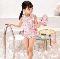 Ins Yaz Bebek Kız Mayolar Karikatür Ayı Şerit Toddlers Mayo Çocuklar Pembe Fırfır Yaylar Plaj Tek Parça Yüzme C4299