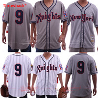 Roy Hobbs The Natural # 9 New York Knights Redford blanco gris Béisbol Jerseys envío gratis S-3XL