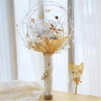 Downton El Yapımı Düğün Gelin Buketleri Inciler Kristal Rhinestone Gül Lüks Çiçekler Buket Düğün Dekorları Damat Broş De Mariage Gül
