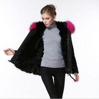 Lusso Meifeng marca rosa pelliccia di procione assetto femminile cappotto di neve nera pelliccia foderato nero mini parka