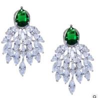 2pairs / lots brincos nobre de alta qualidade cristal baixo preço diamante High-end de luxo zircão atmosférica palácio banquete da senhora 29.25