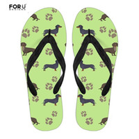 FORUDESIGNS Women's Casual Flip Flops Cute Animal Dachshund Dog Printing Solid Rubber Slippers Summer Beach Shoes Light Sandals