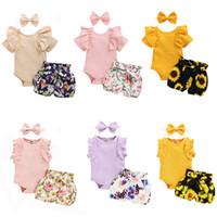 아이 의류 세트 소녀 꽃 복장 유아 푸쉬 슬리브 Romper 탑스 + 꽃 인쇄 반바지 + 머리띠 3pcs / 세트 여름 아기 옷