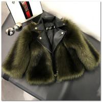 Moda Crianças Faux Fox Fur Outwear Outono Inverno Novas Meninas Engrossar Pu Jaqueta Casaco Crianças Lapela Manga Longa Pluguez Princesa Quente J1418