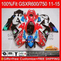 Inyección para Suzuki Shark Fish Red GSXR750 GSXR-600 GSXR600 11 12 13 14 15 16HC89 K11 GSXR 600 750 2011 2012 2013 2014 2014 2015 2016