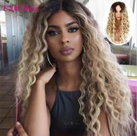 Uzun bayan peruk Sentetik Peruk # 1b 613 Sarışın Saç kadın için peruk Kinky Kıvırcık Sarışın Peruk FZP210