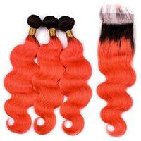 Silanda Hair Ombre 컬러 컬러 컬러 #T 1B / 오렌지 레드 바디 웨이브 레미 인간의 머리카락 4x4 레이스 클로저가있는 번들 무료 배송