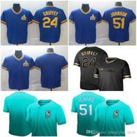 c0a0018a2 New Seattle 24 Ken Griffey Jr. Jersey 51 Suzuki Ichiro Cooperstown Retro Collection  Mesh Wordmark V-Neck Mariners Baseball Jerseys