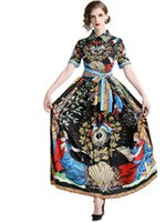 Mulheres Royal Court Imprimir laço vestidos longos Vestidos 2019 Verão Alta final Marca Designer Womans Runway Sashes vestido longo