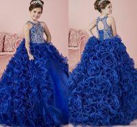 Brilhantes cristais azuis marinhos Baile Flor Gilr Vestido Appliqued Princesa do aniversário Patry vestido menina Forma Pageant Vestidos FL020