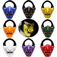 New Meia cara Cavaleiro japonesa do guerreiro Rei Fantasma da máscara do samurai Halloween Cosplay parede Mask Kabuki Halloween Party demônio T200116