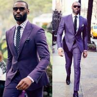 Roxo duas partes Mens Suits Wedding smoking agradável Qualidade Homens Groomsmen Suit Prom Party Feito Order Para (Jaquetas + calça)