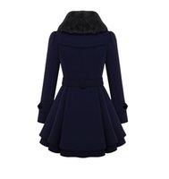 Winter Women's Slim Lapels in The Long Woolen Coat double-breasted Warm Coat Windbreaker Women's Solid Color