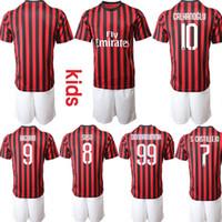Custom Italy Club Kids 2019 2020 Kits de fútbol 99.Donnarumma 10.Calhanoglu 8.Suso 9.Higuain 7. Jerseys Junior Jóvenes Jerseys Camisa De Futebol