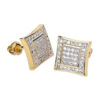 10mm Buzlu Out Bling CZ Kare Küpe 925 Ayar Gümüş Altın Gümüş Renk Kaplama Saplama Küpe Vida Geri Moda Hip Hop Takı