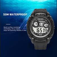 SMAEL 2020 Erkekler Saatler 50m su geçirmez SMAEL Üst Marka LED Spor Saatleri S Şok Ordu Saatler Erkekler Askeri 1390 LED Dijital