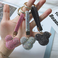 Мода Микки Глава Rhinestone Роскошный Кристалл кожаный ремешок Llavero сплав брелок автомобиля Key Chain Bag Charm Porte Клеф для женщин