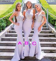 Styles mixtes sirène Robes de mariée lavande Perles dentelle appliques demoiselle d'honneur robe de l'épaule Halter bretelles robe de mariée clients