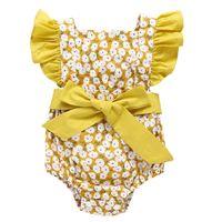 3 لون طفل الأزهار رومبير القطن أزياء الصيف 2021 نيسيس لطيف اللوتس كم طفلة رومبرز 19040202
