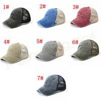 7styles lavados cola de caballo gorra de béisbol de la vendimia unisex clásico teñido llano exterior GORRO viaje de la moda Snapback FFA2319-1