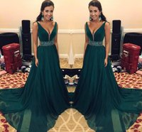 A- Line Cheap Prom Dresses Long With Sash Beads Sequins Chiff...