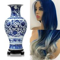 Полный кружева человеческих волос парики предварительно сорвал бразильский Реми волос синий и белый фарфор стиль естественной волны кружева фронт парик человеческих волос