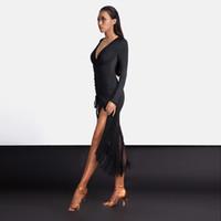 Bühne tragen Latin Dance Kostüm Frauen Sexy Praxis Kleidung Einstellbare Länge Quaste Kleid Weibliche Rumba / Tango Performance Kleidung DQL1363