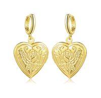 2019 горячие продажи Роза любовь Сердце фаза box серьги открыть можно положить фото серьги золотой серебристый женщина мадам модные аксессуары