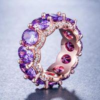 Bague en or rose de charme de bijoux de créateur de bijoux de charmes de femme pleine de bague en acier de Zircon de la Saint-Valentin