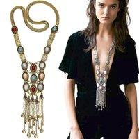 Böhmen Frauen Chic Maxi Halskette arbeiten Weinlese-langen Quaste Anhänger Statement Halsketten-Anhänger Kragen Schmuck, Gold, Silber Farbe