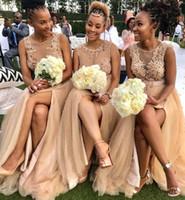 ASO EBI 2020 Арабский Золото Сексуальные Платья невесты Платья Платья Кружева Жемчуг Гости Одевается Высокий Сплит Формальная Вечеринка Вечерние выпускные платья