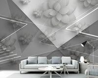 Foto feita sob encomenda Wallpaper 3D Modern simplicidade preto e branco geometria Mural Sala Quarto Home Decor Papel de Parede Paredes 3D